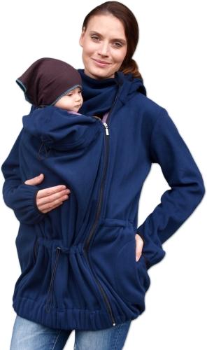 NINA- nosící fleece mikina s kapucí ( pouze pro přední nošení ), tm. modrá