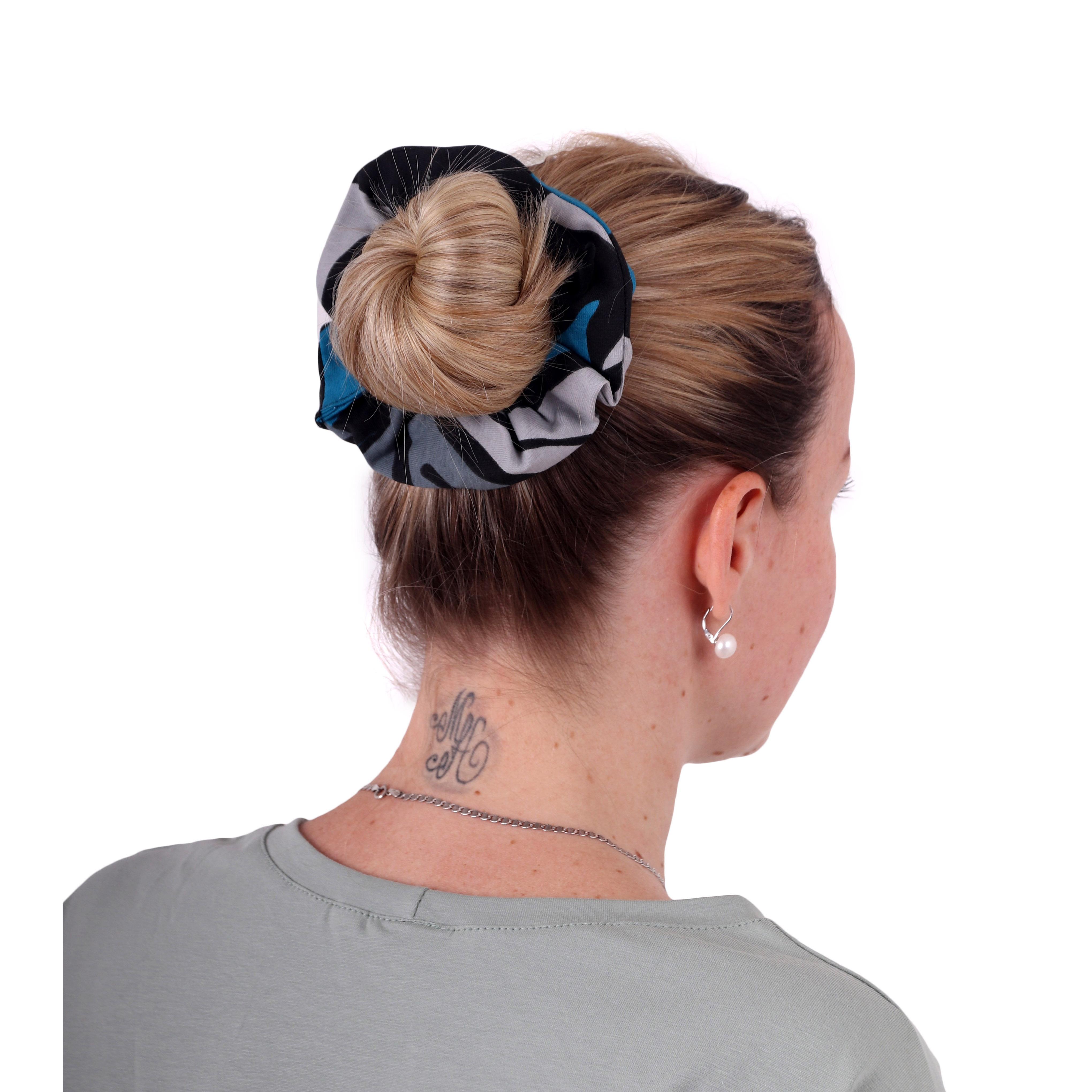 Látková gumička do vlasů, velká, vzorovaná černo-šedo-tyrkysová