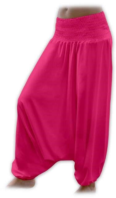 Těhotenské turecké kalhoty, sytě růžové