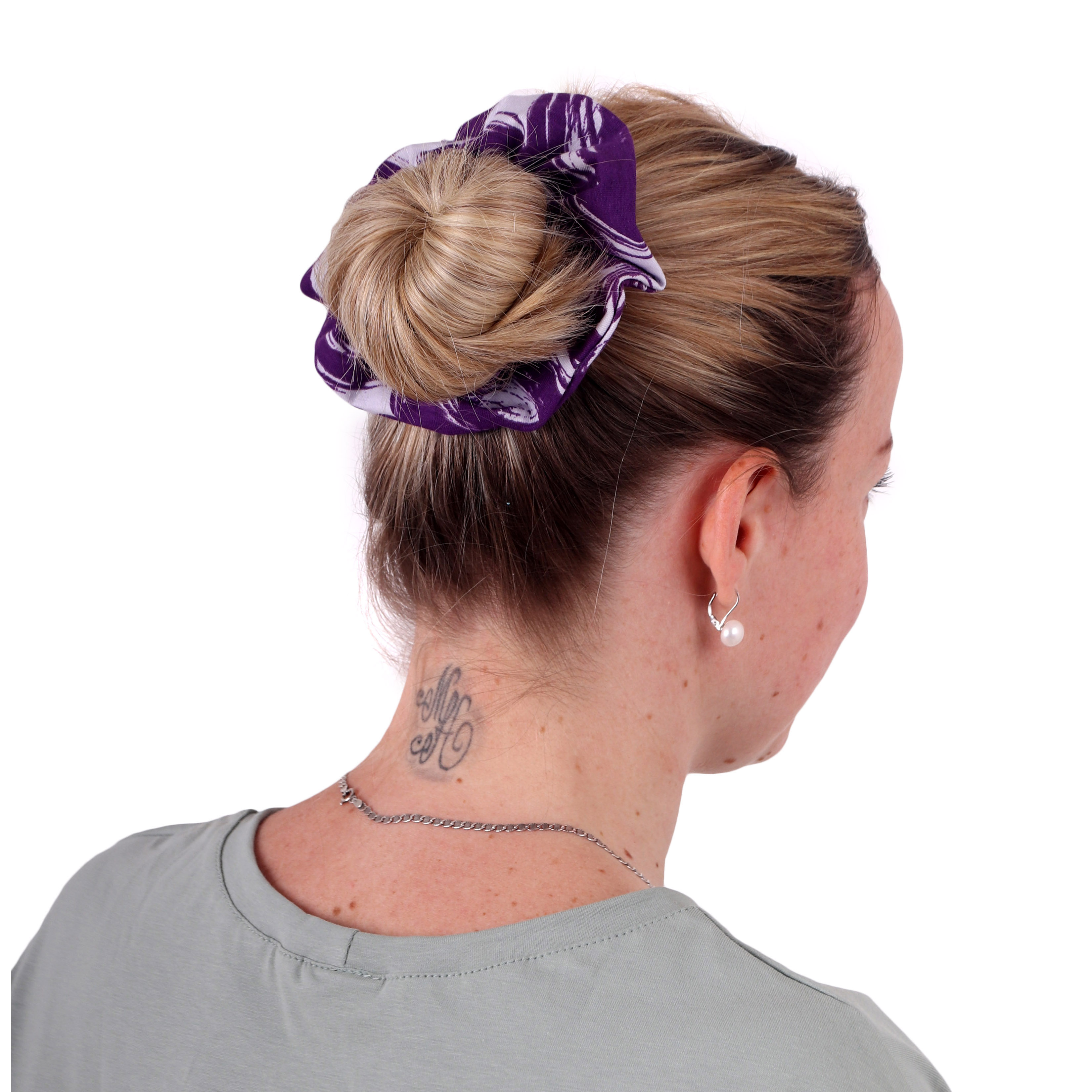 Látková gumička do vlasů, velká, vzorovaná fialová