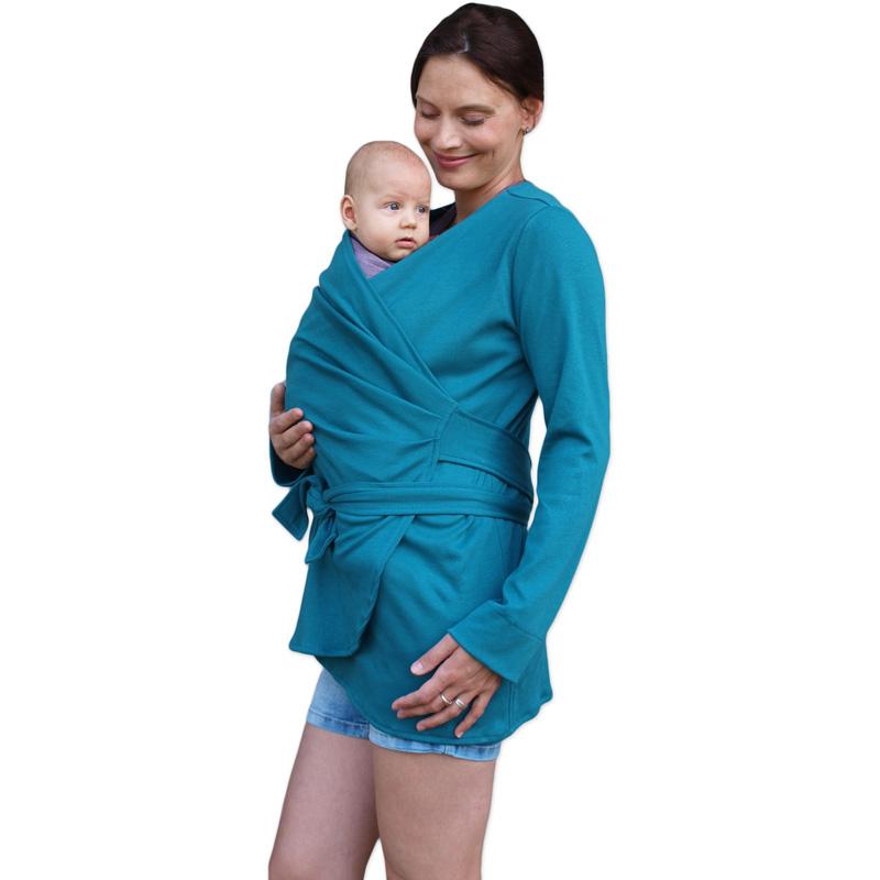 Biobavlněný zavinovací kabátek pro těhotné a nosící ženy blanka, petrolejový, m/l