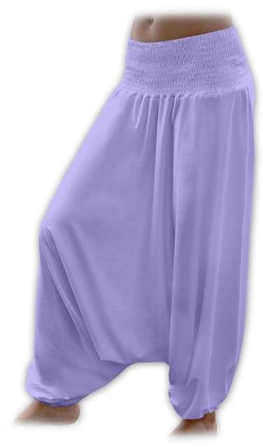 Těhotenské turecké kalhoty, světle fialové
