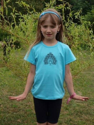 dětské tričko s KR, tyrkysové, PÁV