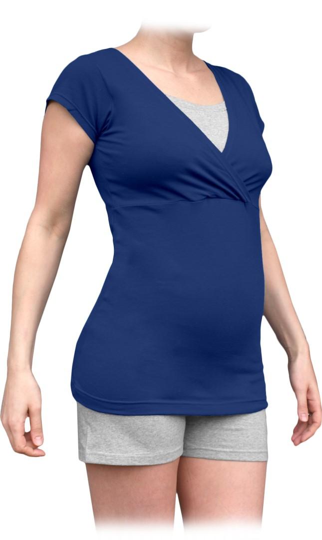 Těhotenské s kojicí pyžamo, krátké, jeans modrá+šedý melír