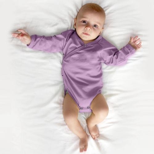 Infant wrapover onesie, lavender