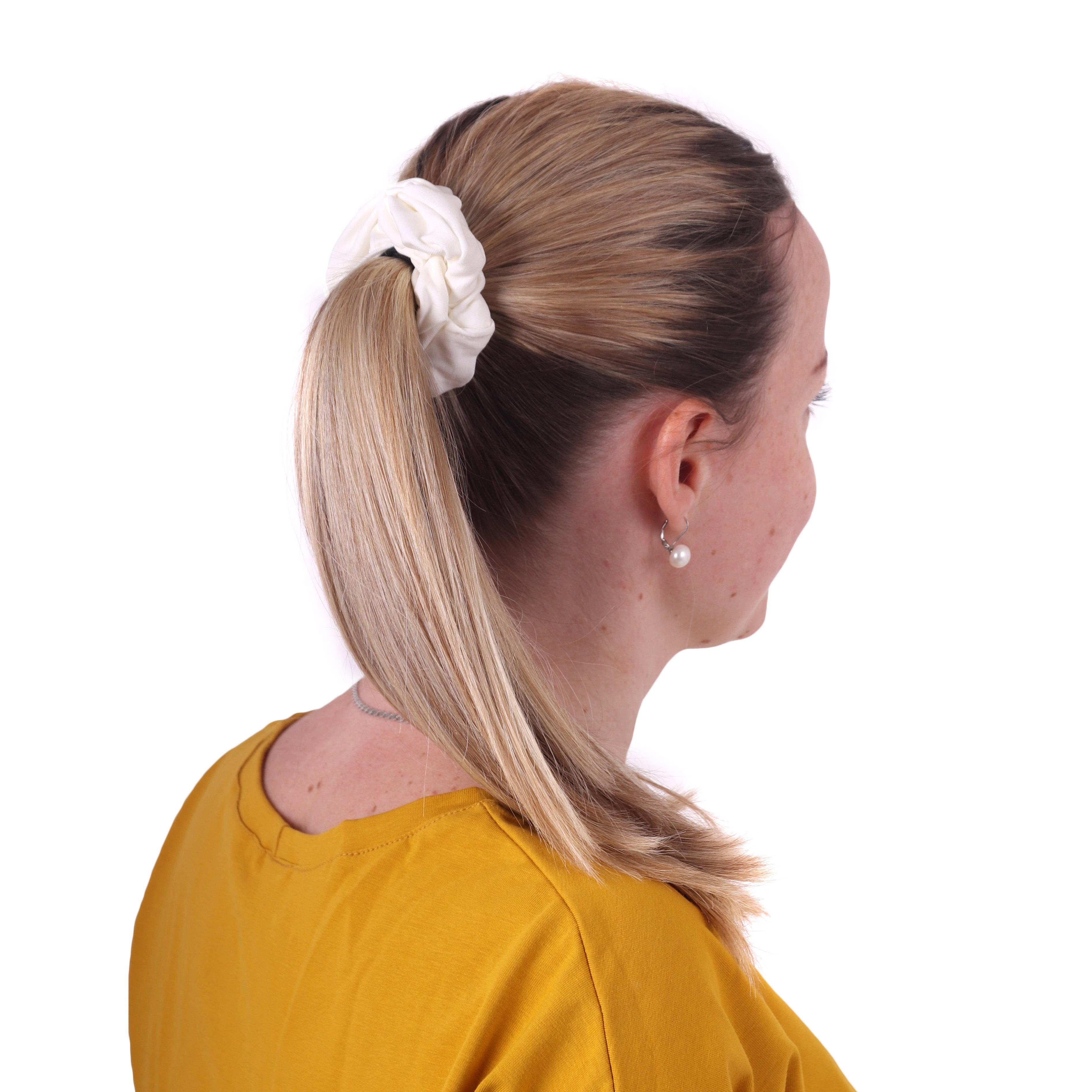 Látková gumička do vlasů, velká, smetanová