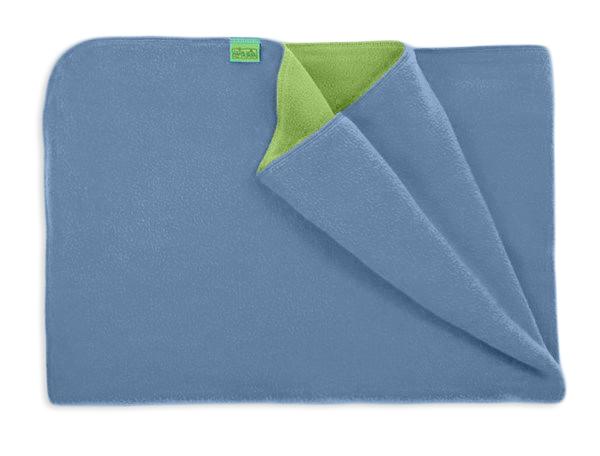 Deka do kočárku teplá, fleece, modrá, zelená, rozměr 70x100cm