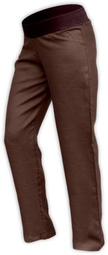 Ľanové dámske nohavice, aj pre tehotné, čokoládovo hnedé