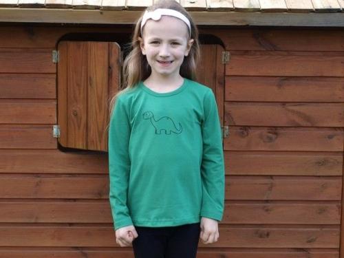 detské tričko s DR, tm. zelené, BRONTOSAURUUS