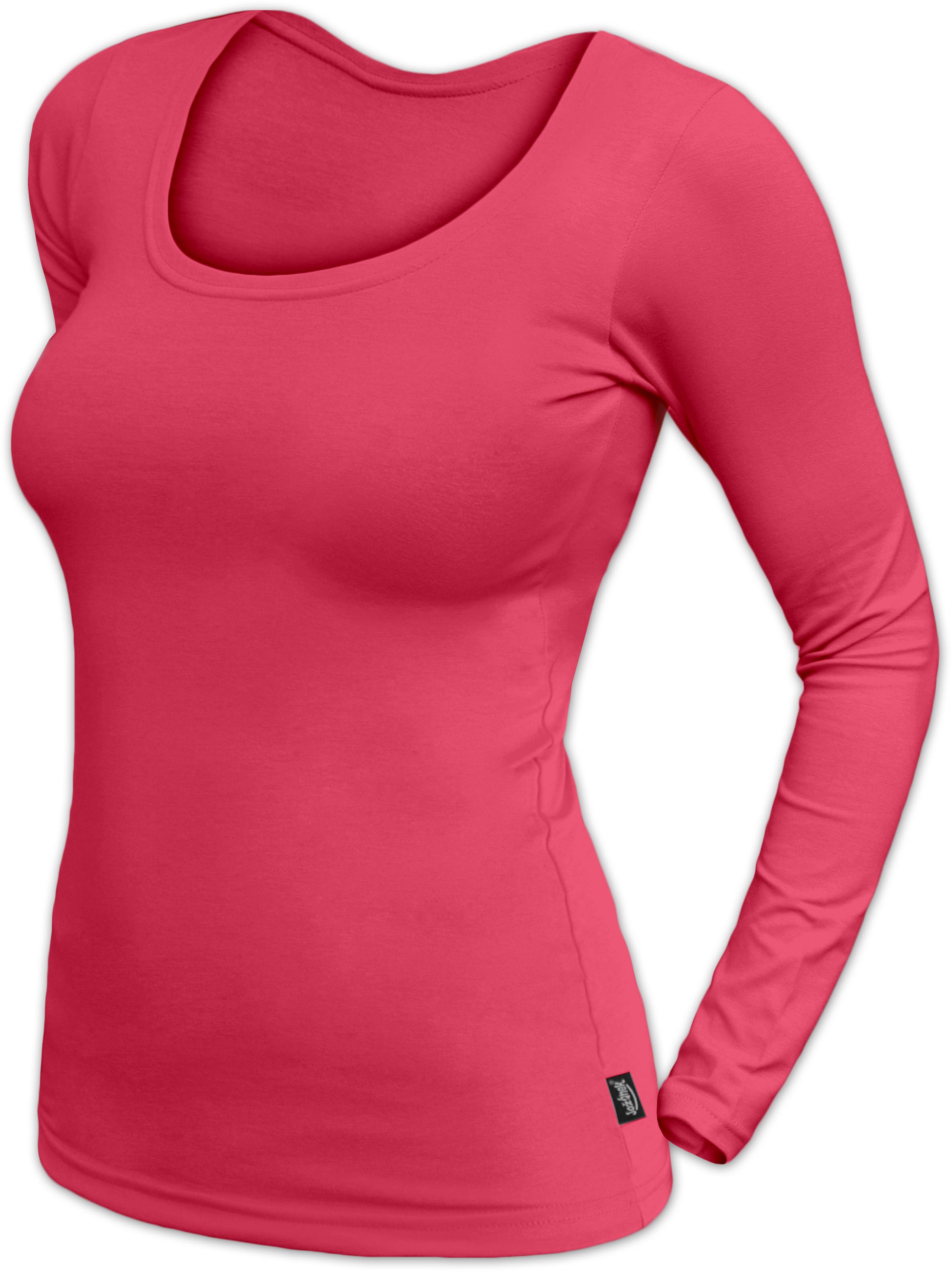 Dámské tričko Brigita, dlouhý rukáv, lososově růžová
