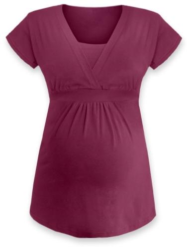 Těhotenská a kojicí tunika Anička, krátký rukáv, cyklámen