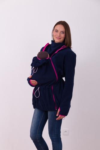 Nosící fleece mikina Nina (pouze přední nošení), tmavě modrá+růžová