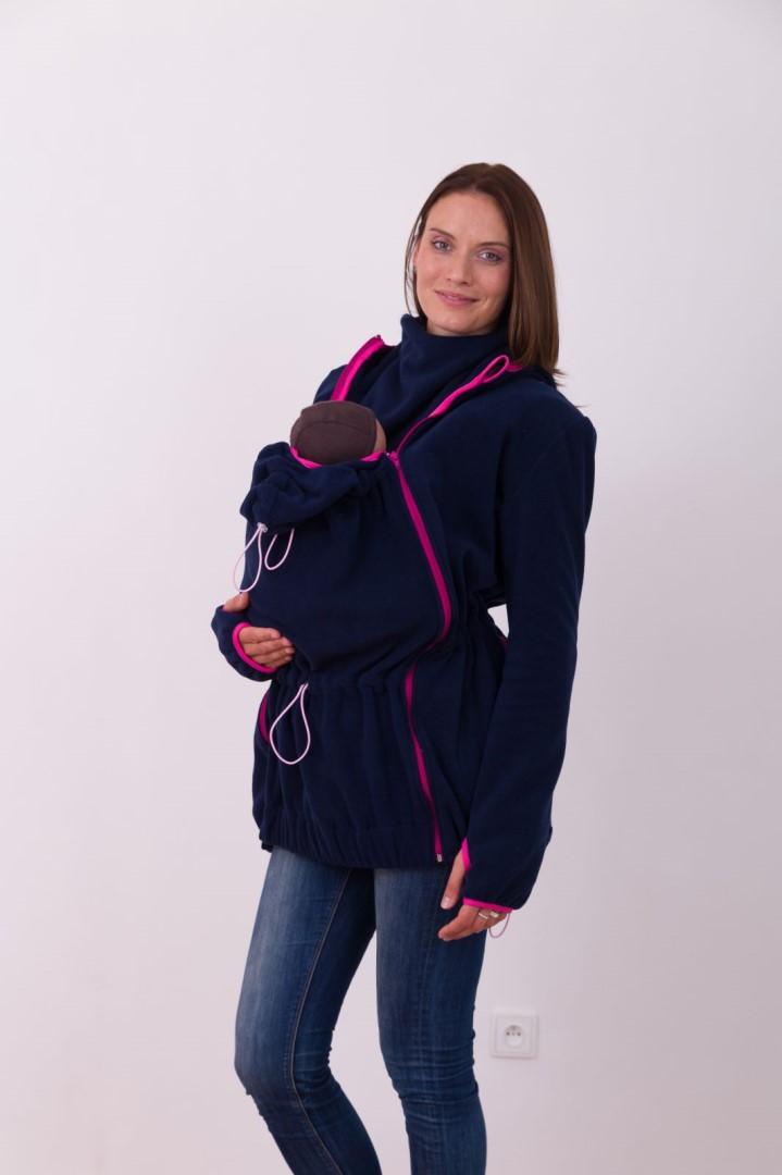 NINA- nosící fleece mikina s kapucí ( pouze pro přední nošení ), tm. modrá s růž. doplňky