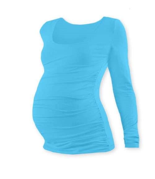 Těhotenské tričko Johanka, dlouhý rukáv, tyrkysové