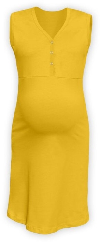 Maternity and breastfeeding nightdress with snap-button neckline Cecilie, YELLOW-ORANGE