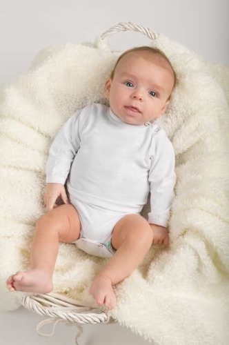 Baby cotton onesies with long sleeves, white