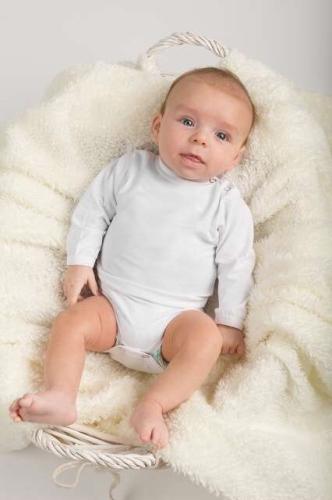 Dojčenské body s dlhým rukávom, biele