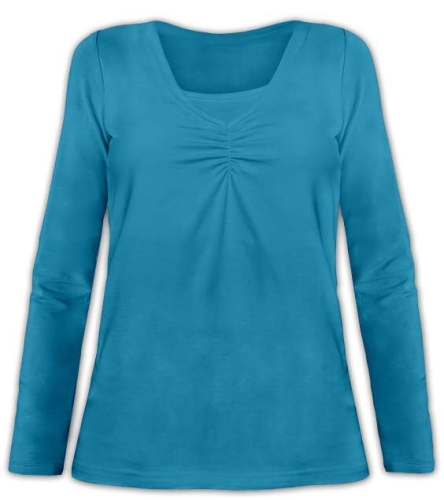 Kojící tričko Klaudie, vsadka v barvě, dlouhý rukáv, petrolejová ( tm. tyrkys )