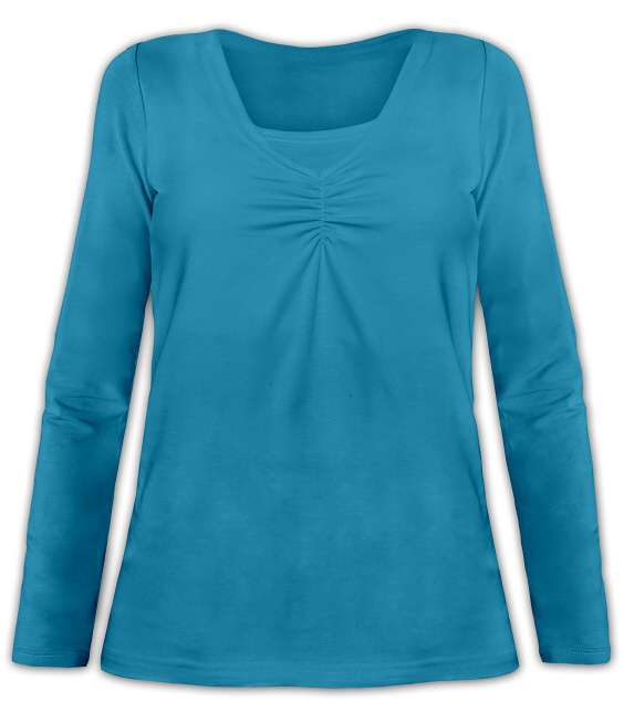 KLAUDIE- breast-feeding T-shirt, long sleeves, DARK TURQUOISE