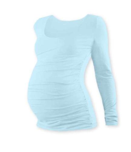 Tehotenské tričko Johanka, dlhý rukáv, svetlo modré