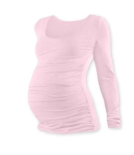 Tehotenské tričko Johanka, dlhý rukáv, svetlo ružové