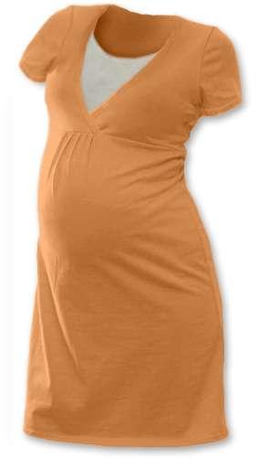 Kojicí noční košile Lucie, krátký rukáv, meruňková