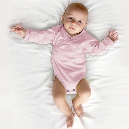 Infant wrapover onesie, light pink