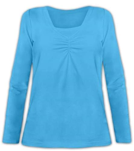 Kojící tričko Klaudie, vsadka v barvě, dlouhý rukáv, tyrkysová