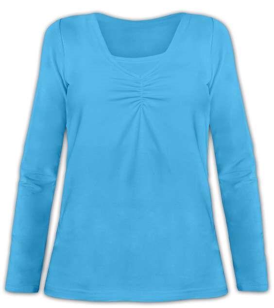 KLAUDIE- kojící tričko, vsadka v barvě, dlouhý rukáv, tyrkysová