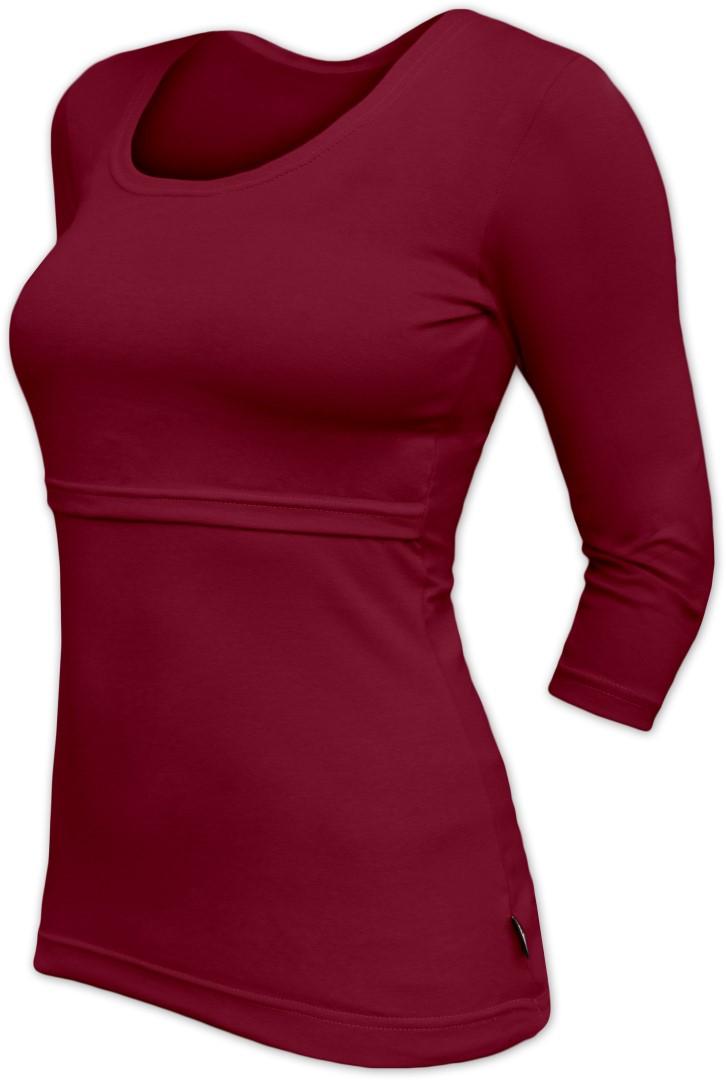 KATERINA- breast-feeding T-shirt 01, 3/4 sleeves, BORDO