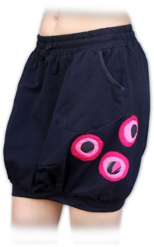 Teplejší balonová sukně Tamara, černá s růžovou aplikací