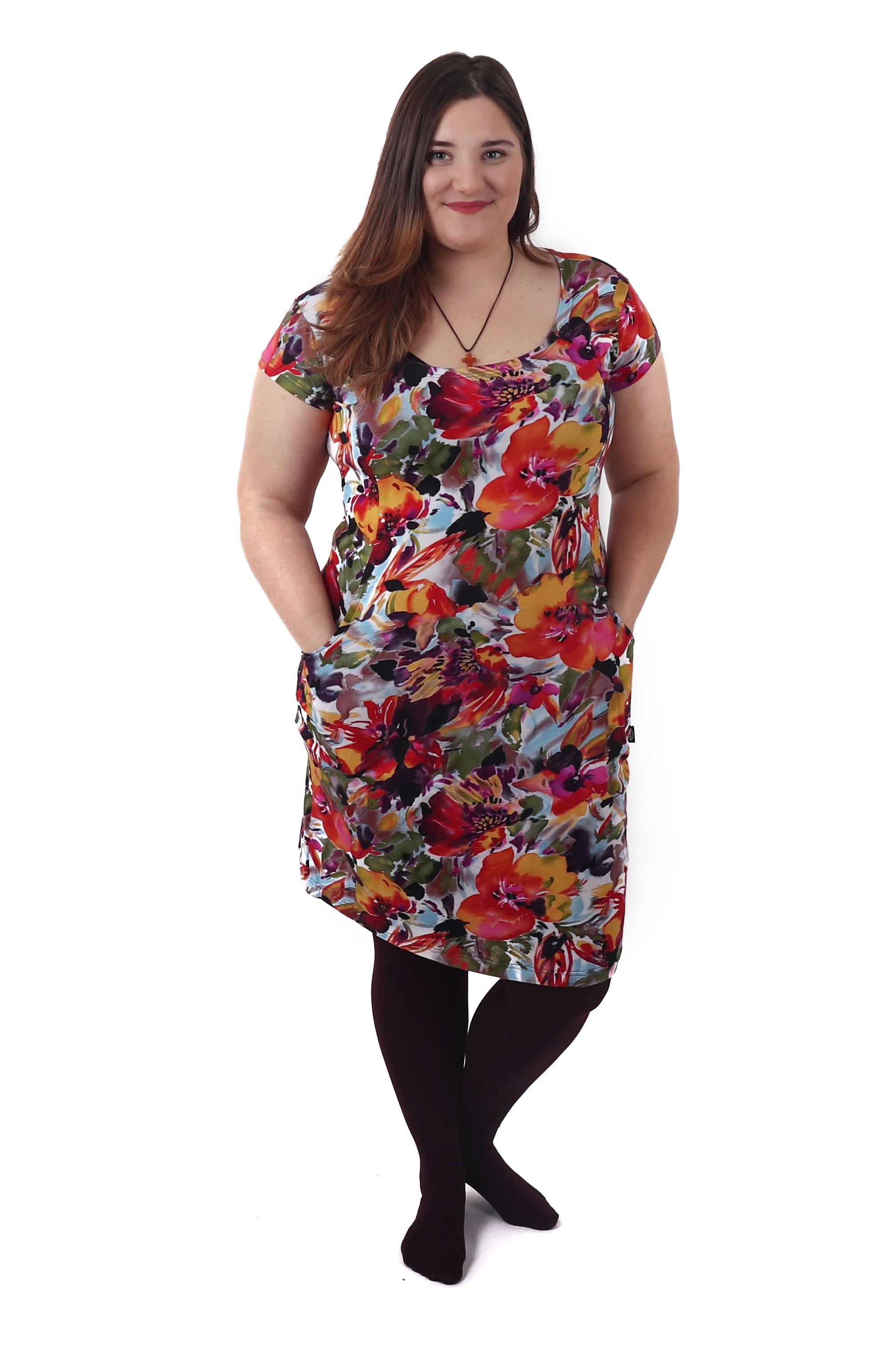 Těhotenské šaty s kapsami Šárka, vzorované květinové