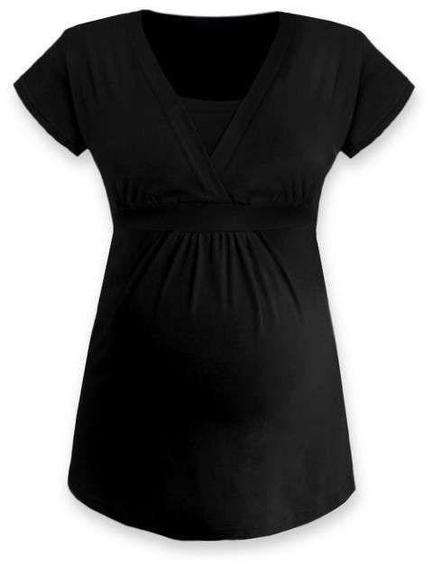 Těhotenská a kojicí tunika Anička, krátký rukáv, černá