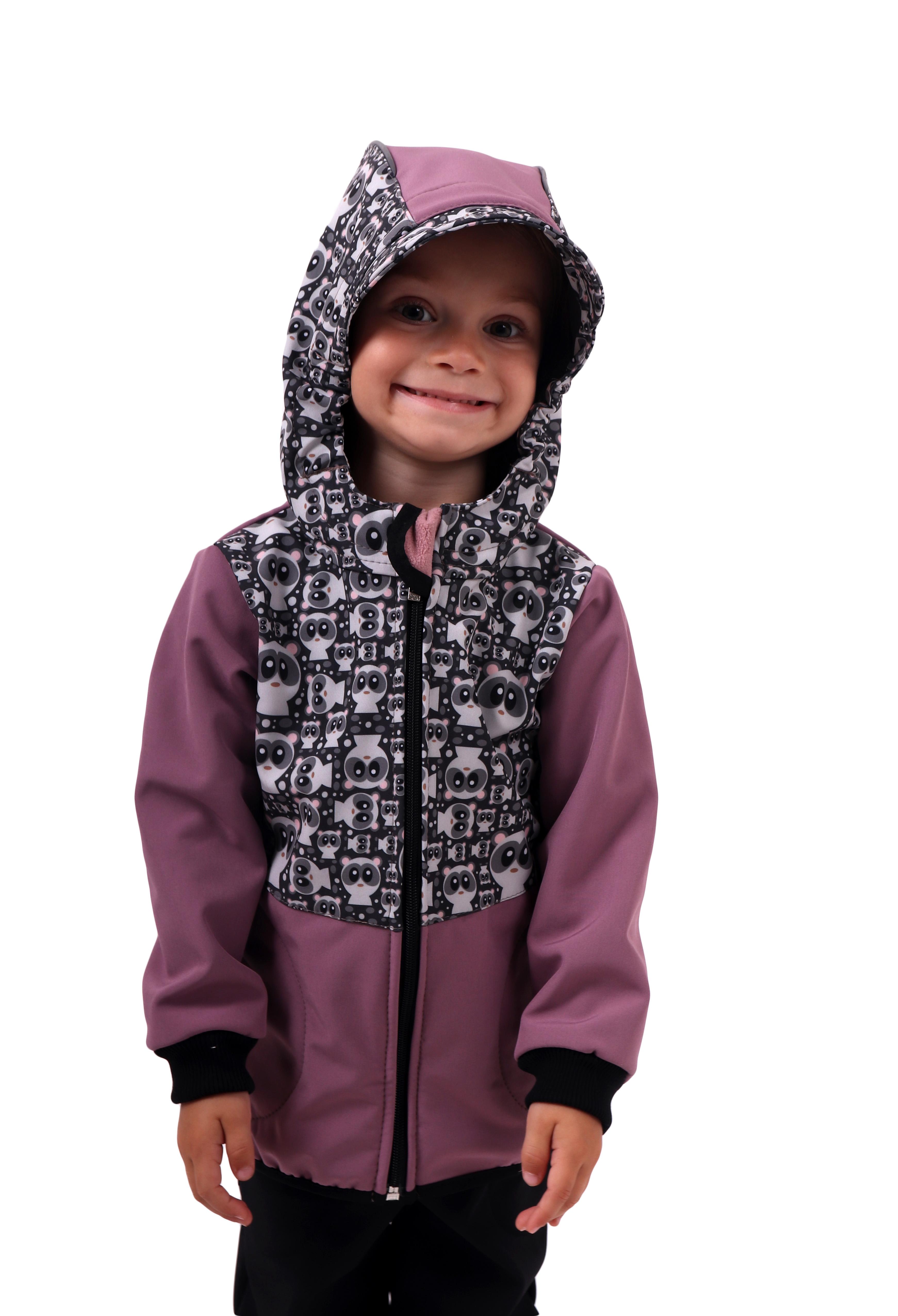 Dětská softshellová bunda, pandy+růžová, 80