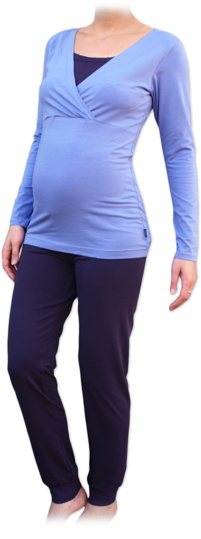 Těhotenské s kojicí pyžamo, dlouhé, světle/tmavě fialové