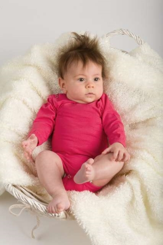 Baby cotton onesies with long sleeves, salmon