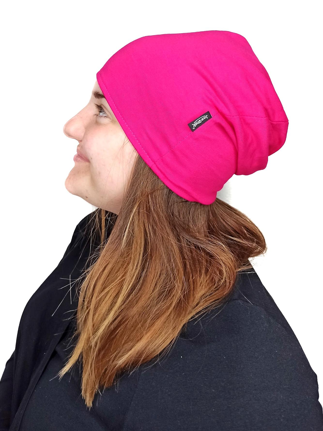 Dámská čepice bavlněná, oboustranná, černá+sytě růžová