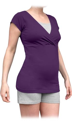 Těhotenské s kojicí pyžamo, krátké, švestkově fialové+šedý melír