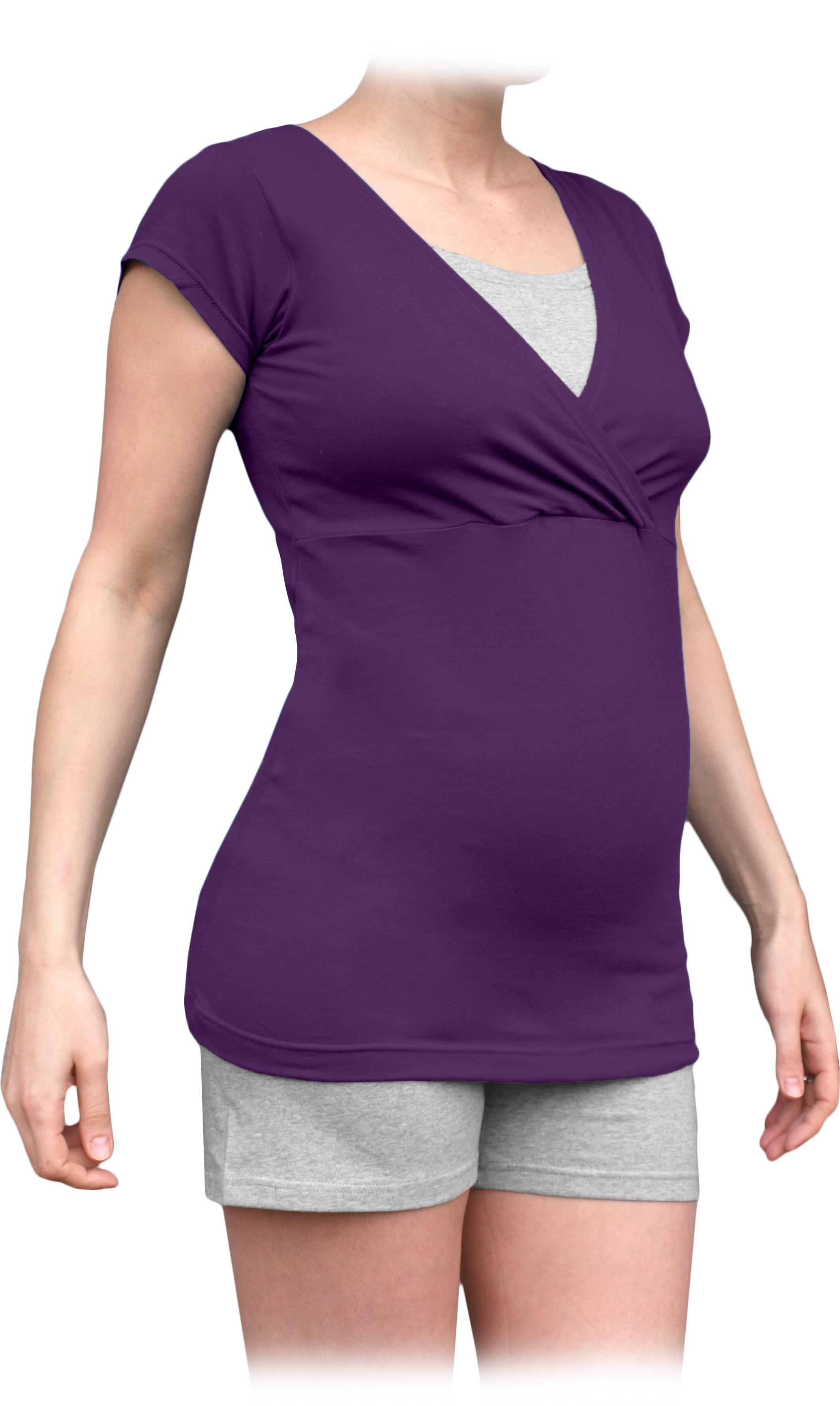 Těhotenské a kojicí pyžamo, krátké, švestkově fialové+šedý melír m/l