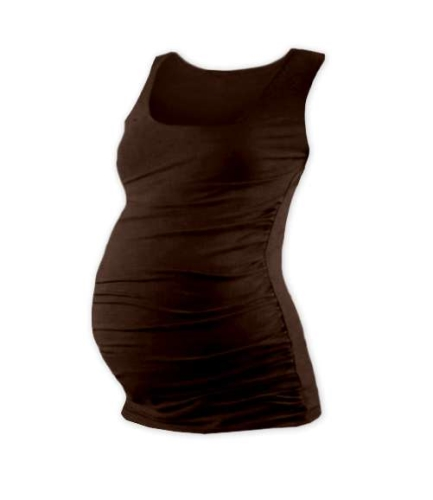 T-shirt for pregnant women Johanka, no sleeves, CHOCOLATE BROWN