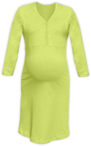 Maternity and breastfeeding nightdress with snap-button neckline Cecilie, LIGHT GREEN