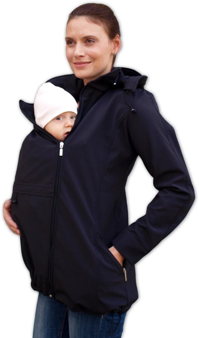 Těhotenská a nosící softshellová bunda Stella, černá