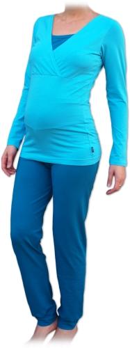 Těhotenské a kojicí pyžamo, dlouhé, tyrkys