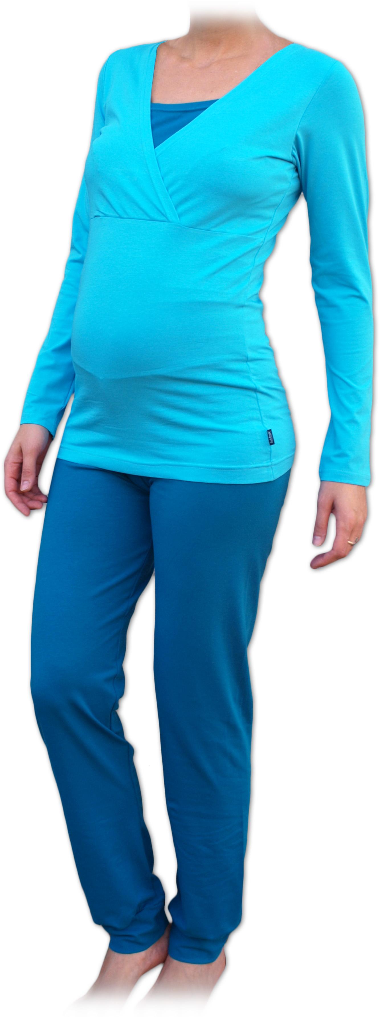 Těhotenské a kojicí pyžamo, dlouhé, tyrkys l/xl