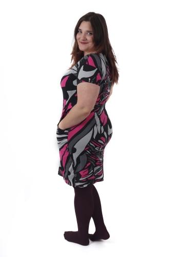 Tehotenské šaty s vreckami Šárka, vzorované čierne, ružové