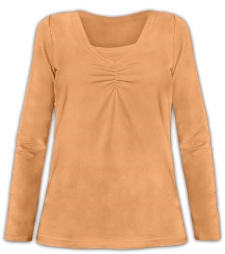 Kojící tričko Klaudie, vsadka v barvě, dlouhý rukáv, sv. oranžová