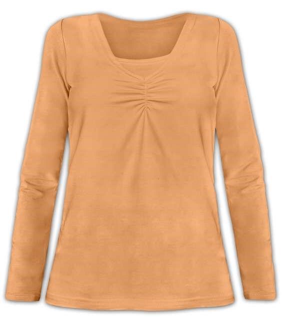 KLAUDIE- Stillshirt, lange Ärmel, Aprikosenfarbe