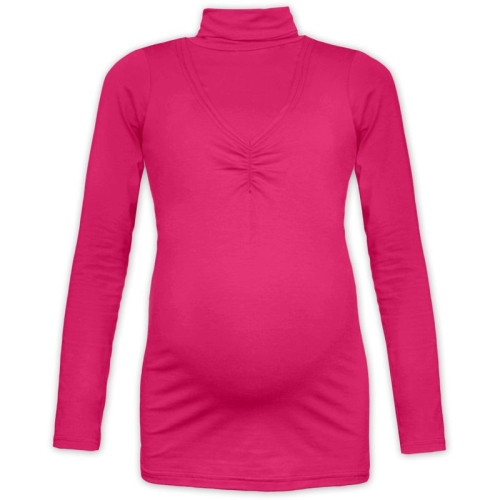 KLAUDIE- breast-feeding roll-colar T-shirt, DARK PINK