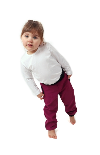 Softshell trousers for kids with high belly belt, fuchsia