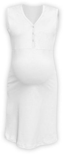 CECILIE- maternity and breastfeeding nightdress with snap-button neckline, WHITE